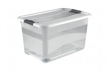 Plastový box Crystal 52 l, priehľadný, na kolieskach, 59,5x39,5x35 cm