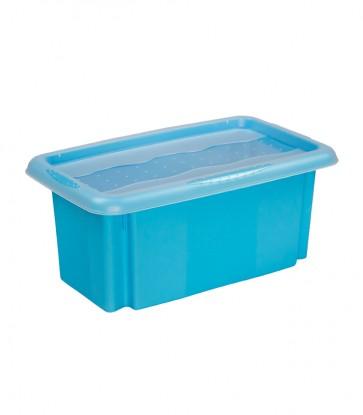Plastový box Colours, 7l, modrý s vrchnákom, 35x20,5x15,5 cm
