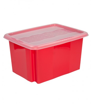 Plastový box Colours, 15l, červený s vrchnákom, 38x28,5x21 cm