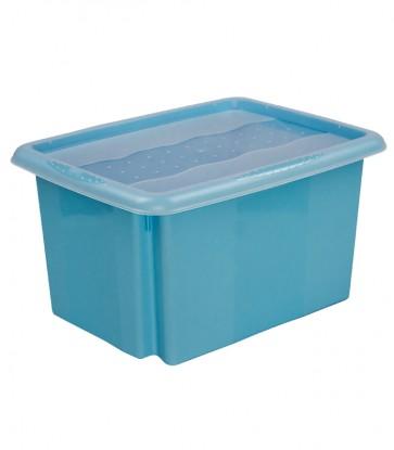 Plastový box Colours, 15l, modrý s vrchnákom, 38x28,5x21 cm