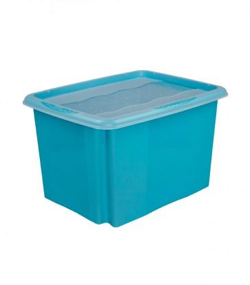 Plastový box Colours, 30l, modrý s vrchnákom, 45x35x27 cm