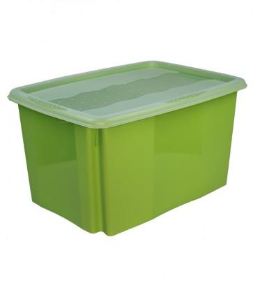 Plastový box Colours, 45l, zelený s vrchnákom, 55x39,5x29,5 cm
