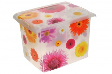 "Plastový box Fashion, ""Pink Flowers"", 39x29x27 cm - POSLEDNÝCH 3 KS"