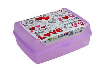 """Plastový box Deco """"Love midi"""" - 1l, 17x13x6,5 cm - POSLEDNÝCH 16 KS"""
