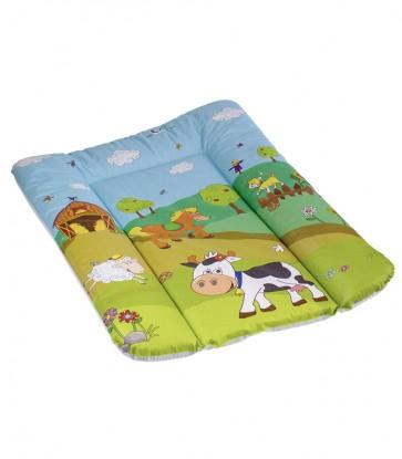Detská prebaľovacia podložka vo svetlo zelenej farbe s motívom Funny Farm - 70x50x5 cm