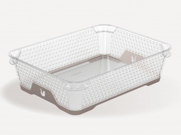 Plastový košík Jonas s protišmykovým dnom, A5, sivý, 26,5x20x7 cm