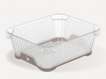 Plastový košík Jonas s protišmykovým dnom, A6, sivý, 20x16x7 cm