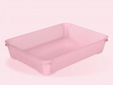 Plastový košík Mirko, A4, ružový, 36x26,5x7 cm