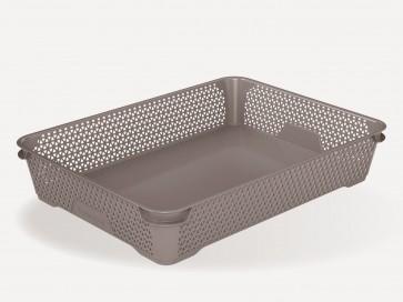 Plastový košík Mirko, A4, sivý, 36x26,5x7 cm