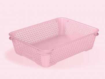 Plastový košík Mirko, A5, ružový, 26,5x20x7 cm