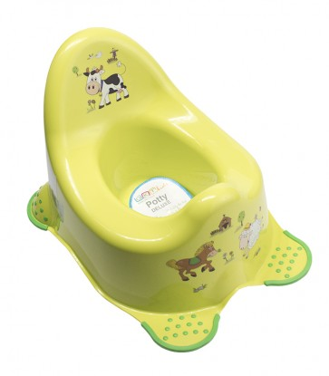 Detský nočník vo svetle zelenom prevedení s motívom Funny Farm - 38x27x24 cm
