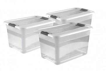 Zvýhodnená sada plastových boxov Crystal 52 l, 3 ks