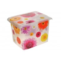 """Plastový box Fashion, """"Pink Flowers"""", 39x29x27 cm"""