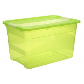 Plastový box Crystal 52 l, svieža zelený, 59,5x39,5x34 cm