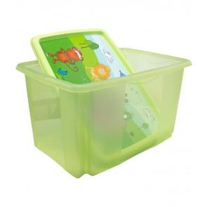 Plastový box Hippo, 45l, zelený s vekom, 55 x 39,5x29,5 cm - POSLEDNÉ 3 KS