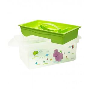 Cestovný box v zelenej farbe s motívom Hippo - 40x24x21 cm - POSLEDNÉ 2 KS