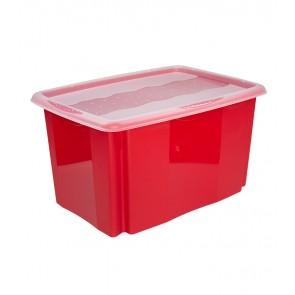 Plastový box Colours, 45l, červený s vrchnákom, 55x39,5x29,5 cm