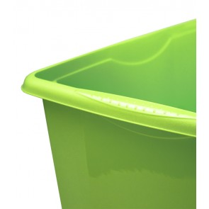 Plastový box Colours, 24l, zelený s vrchnákom, 41x34x22 cm