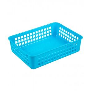 Plastový košík, A5, modrý, 24,5x18,5x6 cm - POSLEDNÝCH 13 KS