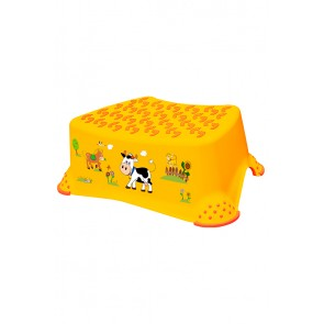 Detský taburet vo svetlo oranžovej farbe s motívom Funny Farm - 40x28x14 cm - POSLEDNÝ KUS