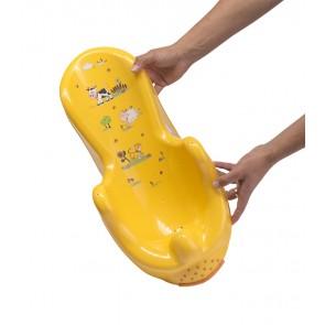 Anatomicky tvarované lehátko vo svetle oranžovej farbe s motívom Funny Farm - 53x25x22 cm - POSLEDNÝCH 6 KS