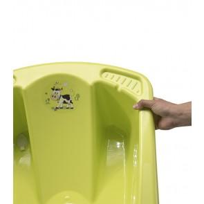 Anatomicky tvarovaná vanička vo svetlo zelenej farbe s motívom Funny Farm - 80x54x24 cm - POSLEDNÝCH 5 KS