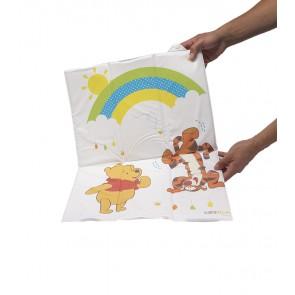 Cestovná detská prebaľovacia podložka v bielej farbe s motívom Macka Pú - 58 x 40 x 0,5 cm