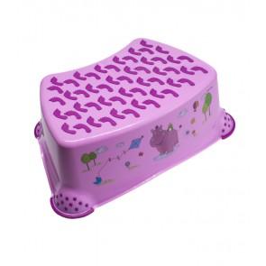 Detský taburet v ružovej farbe s motívom Hippo - 40x28x14 cm
