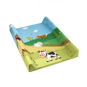 Detská prebaľovacia podložka Funny Farm vo svetlo zelenej farbe s metrom - 70x50x10 cm - POSLEDNÉ 2 KS