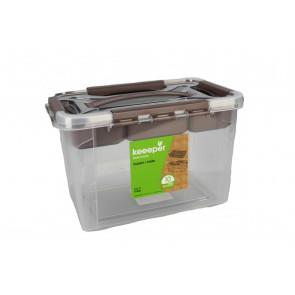 Plastový Clippy box s priehradkou, 15,3 l, priehľadný, 39x19x18 cm