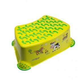 Detský taburet vo svetlo zelenej farbe s motívom Funny Farm - 40x28x14 cm