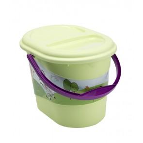 Kýblik na plienky v zelenej farbe s motívom Hippo - 37x26,5x26 cm