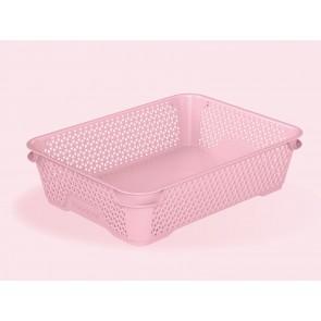 Plastový košík Mirko, A5, ružový, 26,5x20x7 cm - POSLEDNÝCH 23 KS