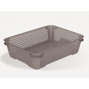 Plastový košík Mirko, A5, sivý, 26,5x20x7 cm
