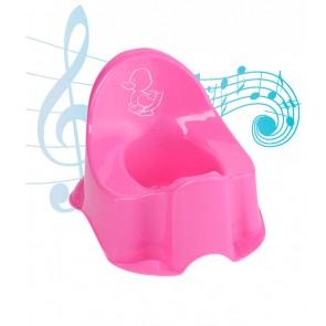 Hudobný detský nočník Kačička, svetlo ružový, 30x25x22 cm