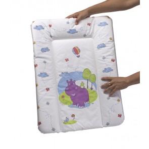 Detská prebaľovacia podložka v bielej farbe s motívom Hippo - 70x50x5 cm - POSLEDNÝCH 5 KS