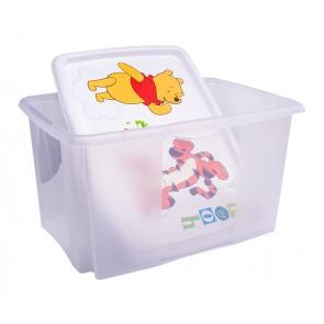 Plastový box Macko Pú, 45l, priehľadný s bielym vekom, 55x39,5x29,5 cm - POSLEDNÉ 3 KS
