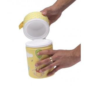 Termoobal na fľašu v žlto medovej farbe s motívom Macka Pú - 21 x ø 10 cm - POSLEDNÝCH 6 KS